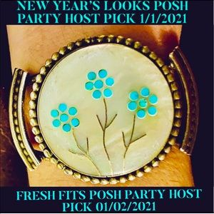 2XHP💕Vintage Zuni MOP Turquoise Sterling Bracelet